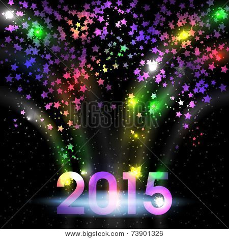 Colorful background with stars for New year 2015