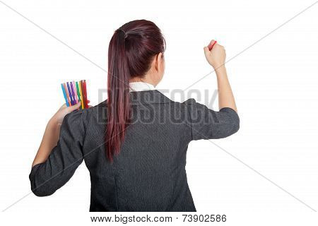 Asian Business Woman Write With Color Pen On Whiteboard