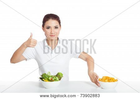 Asian Girl Thumbs Up For Salad Push Crisps Away