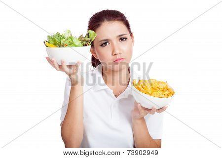 Asian Girl Weight Crisps Or Salad