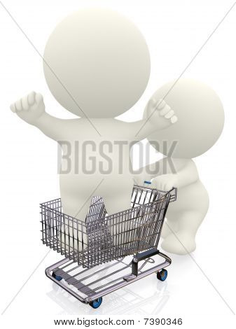 3D Person In A Shopping Cart
