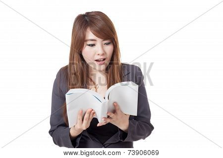 Asian Businesswoman Is Excited  Reading  A Book