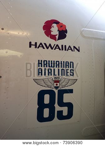 Hawaiian Airlines Logo Marking 85 Years Of Service Of Side Of Plane