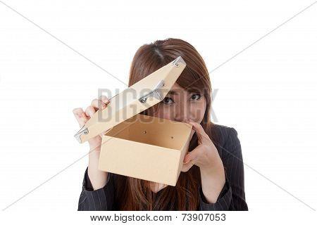 Asian Businesswoman Open Box Carefully Open Box Carefully