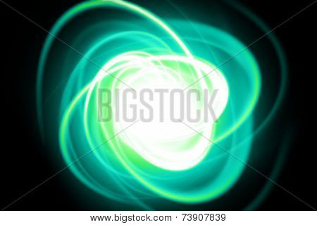 Green Dynamic Streak On A Black Background