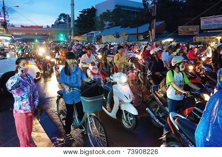 Asian City, Traffic Jam At Night