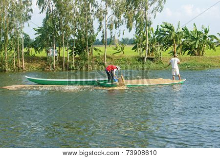 Asian Farmer Feeding, Fish Pond, Fishery