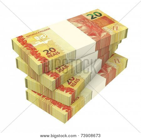 Brazilian reais isolated on white background. Computer generated 3D photo rendering.