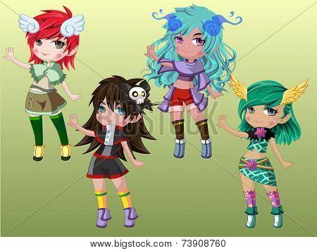 Cute Cartoon Girls Character