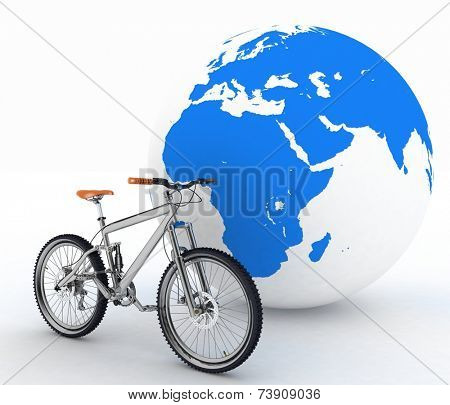 Bike and the globe. The concept of tourism on environmental transport.