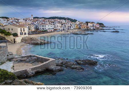 Coastal Village of Barcelona with sea at sunset