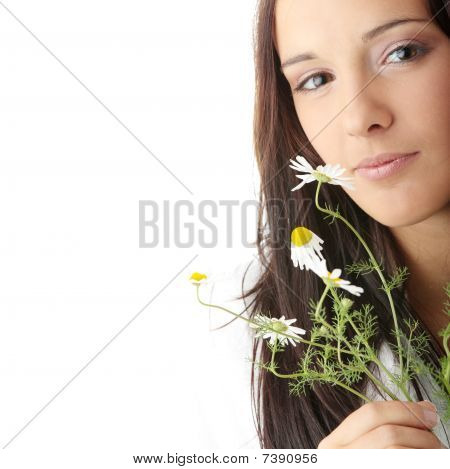 Woman In Bathtub With Daisy