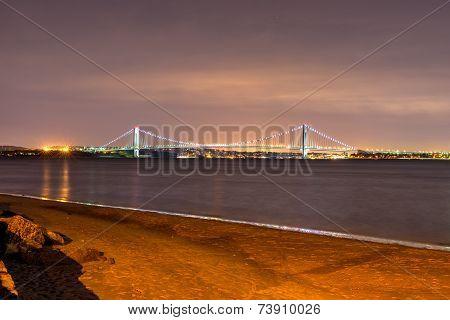 Verrazano Bridge At Night From Coney Island