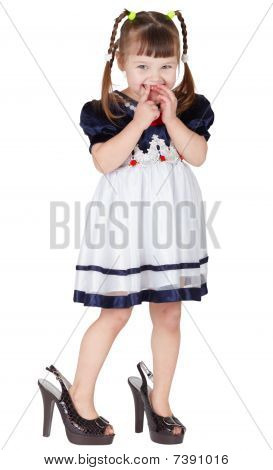Girl Dressed Big Shoes, Isolated On White