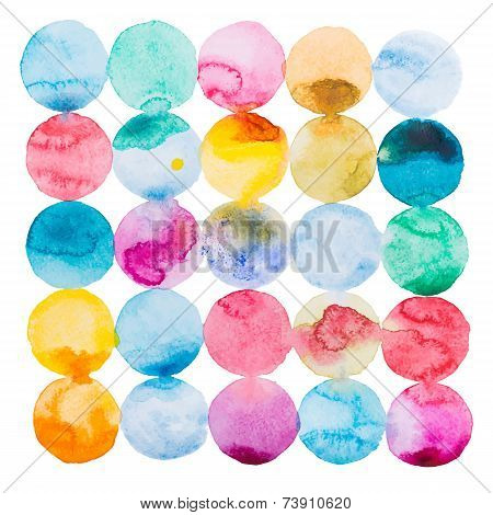 Abstract watercolor aquarelle hand drawn colorful art paint splatter stain on white background Vecto