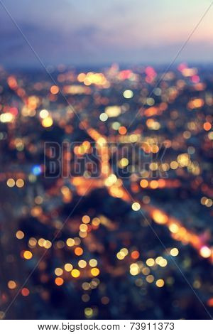 bokeh (out of focus) night London, view from shard, UK