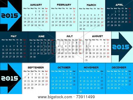 Blue infographic calendar 2015 with arrows