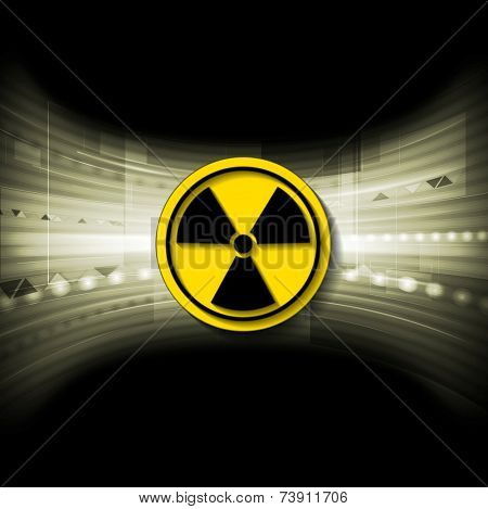 Tech background with radioactive symbol. Vector illustration