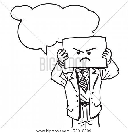 Businessman with angry face on paper speaking something