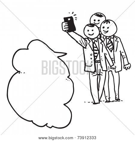 Businessmen taking selfie and  speaking