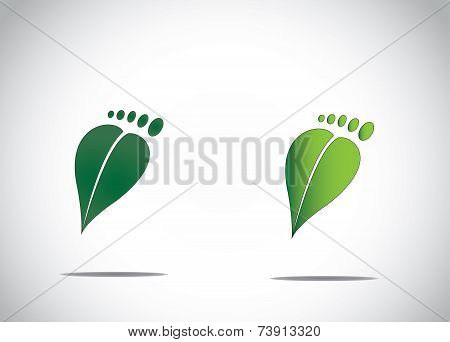 Green Leaf Human Foot Environment Friendly Carbon Footprint Abstract Image Icon