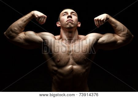 Portrait Chested Male Bodybuilder.