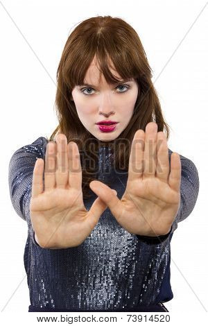 Woman Saying NO with Hand Gesture