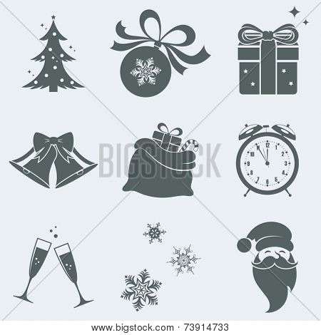 Vector illustration of icons on a theme of new year