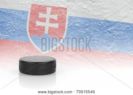 Hockey Puck And Slovak Flag