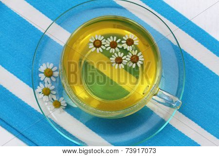 Cup of chamomile tea with fresh chamomile flowers