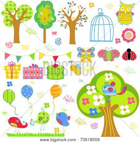 Birds, blooming trees, flowers and insects