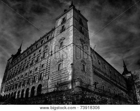 Low Angled Shot Of Toledo Alcazar (spain)