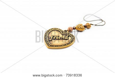 Heart Amulet Express Friend Word Isolated