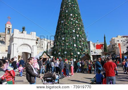 People Celebrate Christmas In Nazareth
