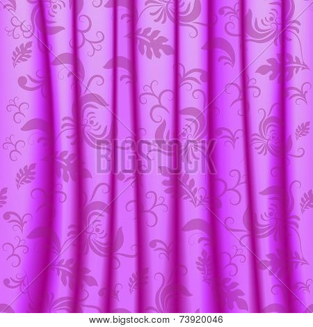 Curtain with pleats and damsk ornaments