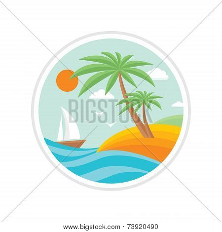 Summer holiday - creative logo sign in flat design style for different design projects. Vector logo