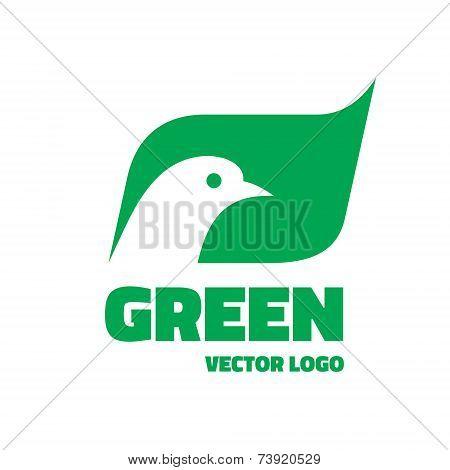 Green - vector logo concept. Vector logo template. Bird dove illustration. Ecology original sign.