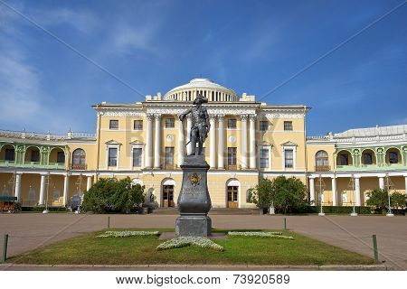Monument To Paul I And Pavlovsk Palace, Pavlovsk, Saint Petersburg