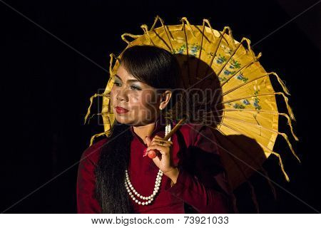 Myanmar Umbrella Dancer