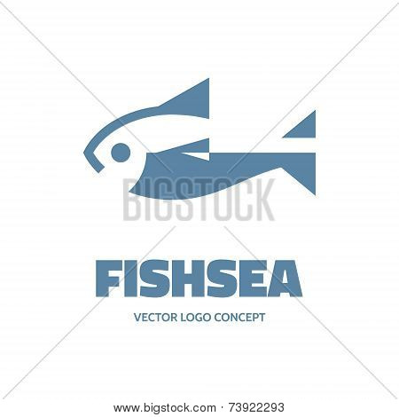 Fishsea - vector logo concept. Fish vector illustration. Vector logo template.