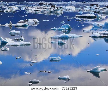 Blue icebergs and ice floes in the Ice Lagoon Jokulsarlon. South-east Iceland in July