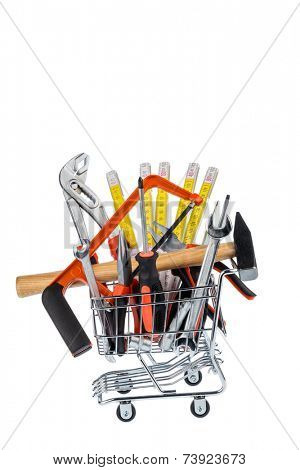 hand tool in a shopping cart, photo icon for crafts, tools and materials procurement