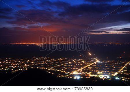 Falling night over Siria, Arad, Romania