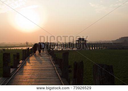 Sunset From The U-bein Bridge