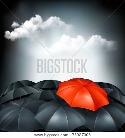 One red umbrella in a group of grey umbrellas. Uniqueness concept.