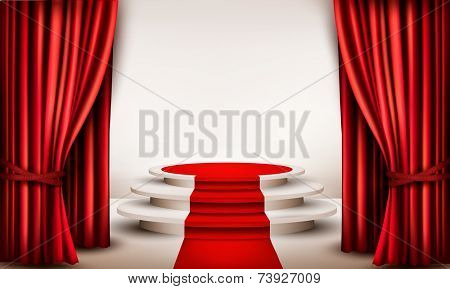 Background with curtains and red carpet leading to a podium. Vector.