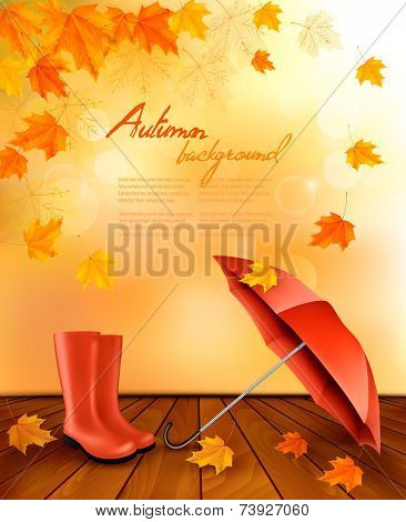 Autumn background with umbrella and rain boots. Vector.