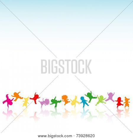 happy kids playing an jumping; silhouette illustration