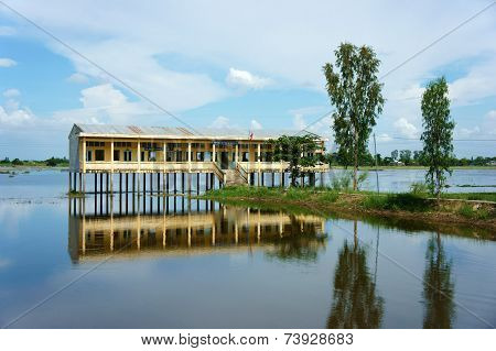 Vietnamese Shool In Flooded Season
