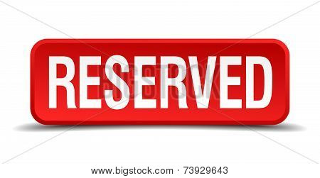 Reserved Red 3D Square Button Isolated On White
